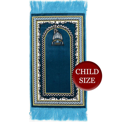 Modefa Prayer Rug Turquoise Child Velvet Islamic Prayer Rug - Turquoise with Dotted Border