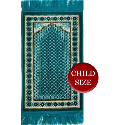Modefa Prayer Rug Turquoise Child Velvet Islamic Prayer Rug - Turquoise with Geometric Border