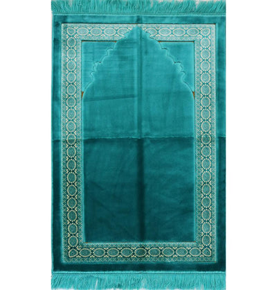 Lux Plush Regal Velvet Islamic Prayer Rug - Turquoise