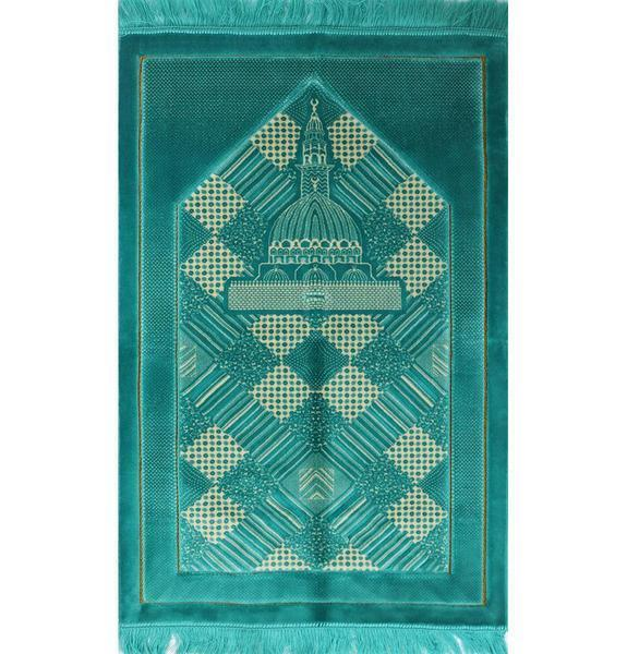 Modefa Prayer Rug Turquoise Modefa Plush Velvet Islamic Turkish Prayer Rug Turquoise