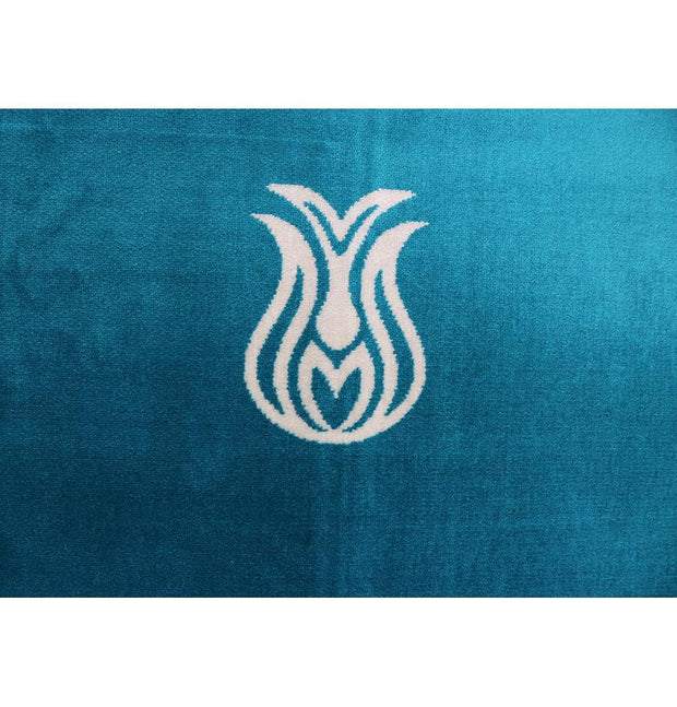 Solid Simple Velvet Prayer Rug with Tulip - Turquoise