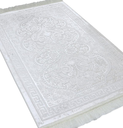 Modefa Prayer Rug Vanilla Creme Luxury Velvet Islamic Prayer Rug Paisley Vanilla Creme