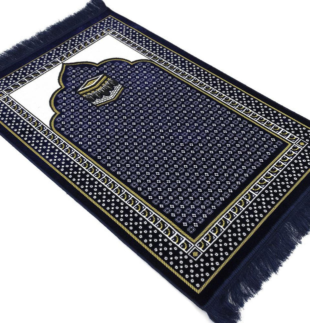 Modefa Prayer Rug Velvet Dancing Rose Vine Islamic Prayer Rug - Blue