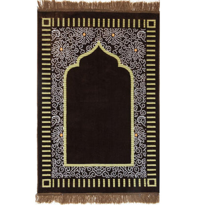 Modefa Prayer Rug Velvet Floral Daisy Arch Islamic Prayer Rug - Brown