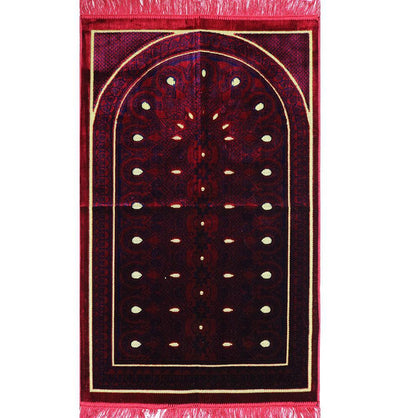 Modefa Prayer Rug Velvet Geometric Arch Islamic Prayer Rug - Red/Blue