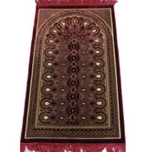 Modefa Prayer Rug Velvet Geometric Arch Islamic Prayer Rug - Red/Yellow