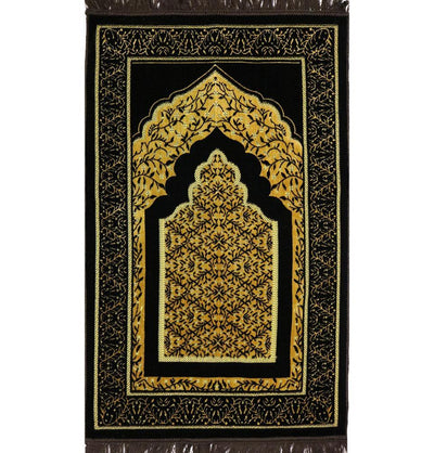 Velvet Vined Arch Islamic Prayer Rug - Brown