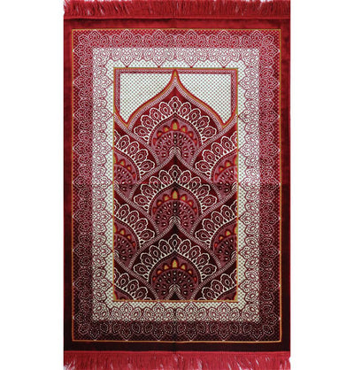 Modefa Prayer Rug Velvet Wide Large Islamic Prayer Rug - Paisley Red