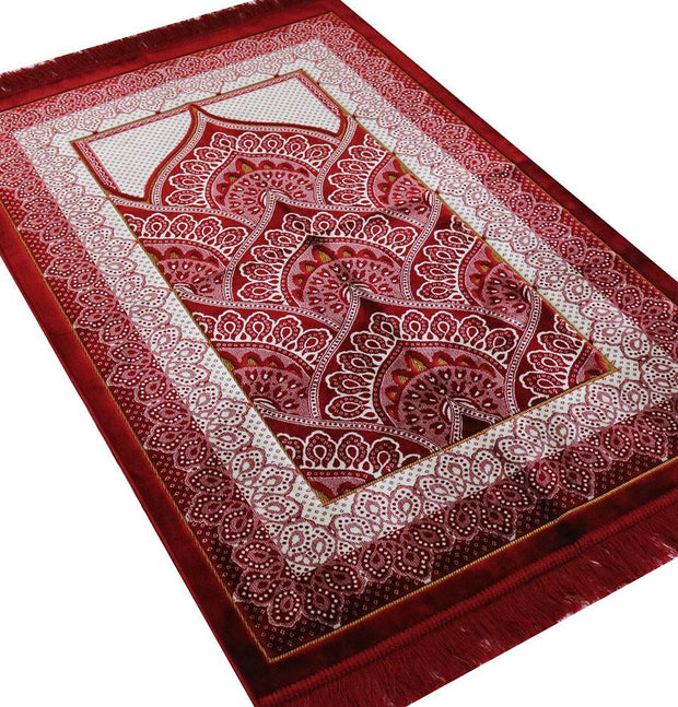 Velvet Wide Large Islamic Prayer Rug - Paisley Red