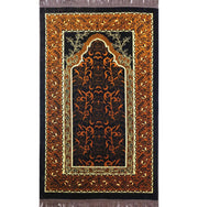 Velvet Wild Daisy Islamic Prayer Rug - Brown/Orange
