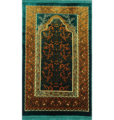 Modefa Prayer Rug Velvet Wild Daisy Islamic Prayer Rug - Green/Orange
