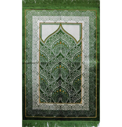 Modefa Prayer Rug Velvet Plush Wide Extra Large Prayer Rug - Paisley Green