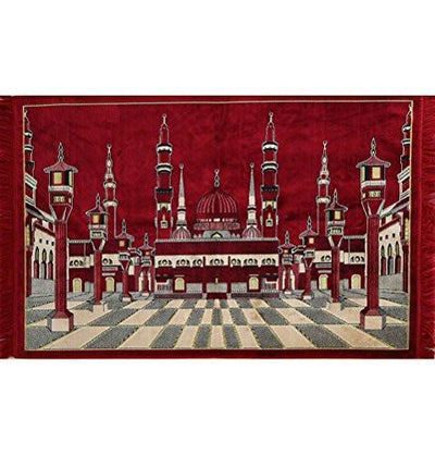 Modefa Prayer Rug Wall Tapestry Multi Person Islamic Prayer Rug Medina Masjid Mosque - Modefa