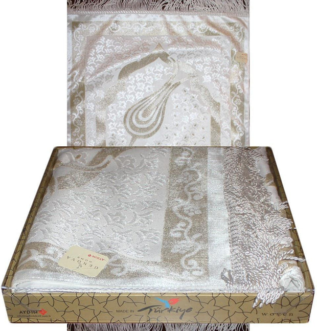 Modefa Prayer Rug White / Gold Luxury Thin Velvet Prayer Mat Gift Box Set Ottoman Tulip