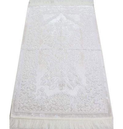 Modefa Prayer Rug White Luxury Velvet Islamic Prayer Rug - White #2