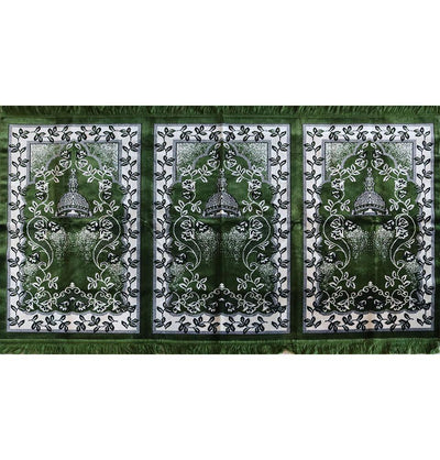 Wide 3 Person Islamic Prayer Rug - Green Mosque