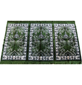 Modefa Prayer Rug Wide 3 Person Islamic Prayer Rug - Green Mosque
