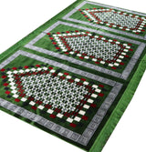 Modefa Prayer Rug Wide 3 Person Masjid Islamic Prayer Rug - Geometric Green / Red