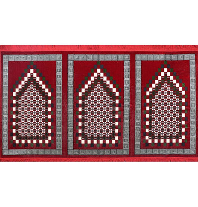 Modefa Prayer Rug Wide 3 Person Masjid Islamic Prayer Rug - Geometric Red