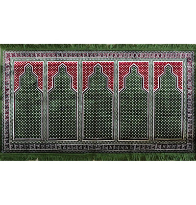 Modefa Prayer Rug Wide 5 Person Masjid Prayer Rug Green / Red