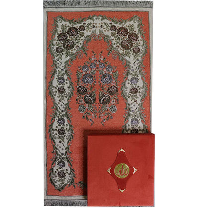Modefa Prayer Rug Women's Luxury Islamic Quran & Prayer Rug Gift Set 6 Pieces in Velvet Box - Salmon