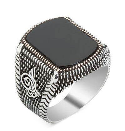 Modefa ring Men's Silver Turkish Ring Black Onyx with Tughra