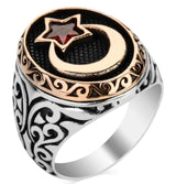 Modefa ring Men's Silver Islamic Ottoman Ring Crescent Moon & Star