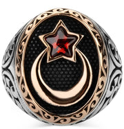 Men's Silver Islamic Ottoman Ring Crescent Moon & Star