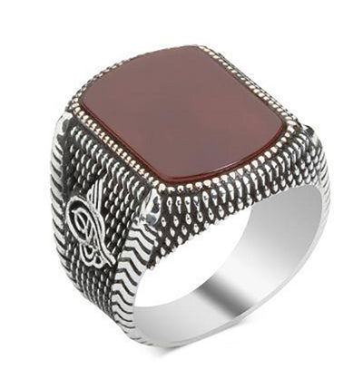 Men's Silver Turkish Ring Red Agate with Tughra