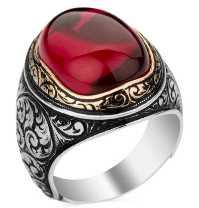 Modefa ring Men's Silver Turkish Ring Red Ruby