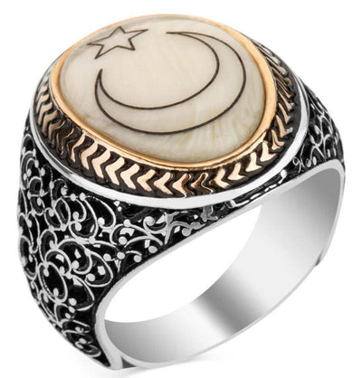 Men's Silver Turkish Ring Mother of Pearl with Crescent Moon & Star