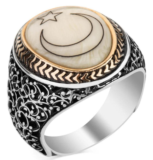 Modefa ring Men's Silver Turkish Ring Mother of Pearl with Crescent Moon & Star