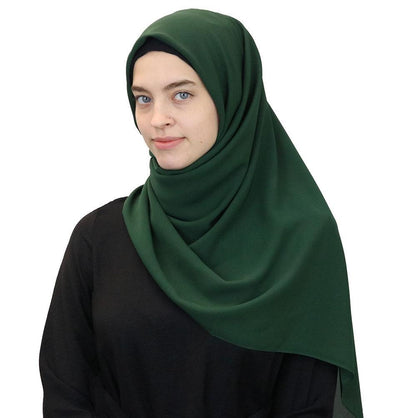 Medine Square Solid Chiffon Hijab Scarf Forest Green