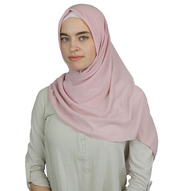 Modefa scarf Light Pink Medine Square Solid Chiffon Hijab Scarf Light Pink