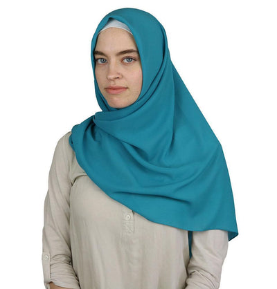 Square Solid Chiffon Hijab Scarf Turquoise