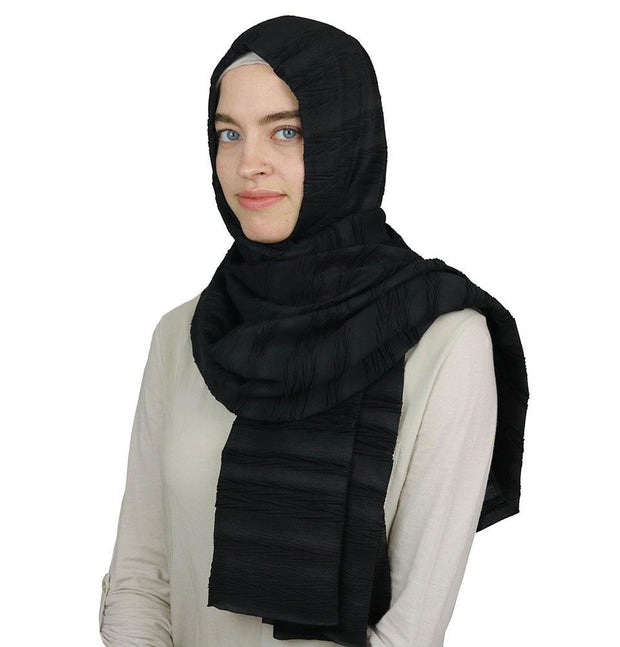 Modal Crinkle Pleated Hijab Shawl Black