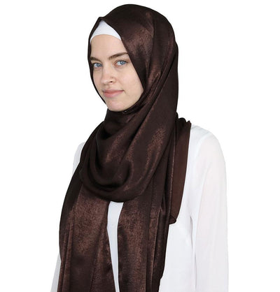 Modefa Shawl Brown Bamboo Satin Hijab Shawl Brown