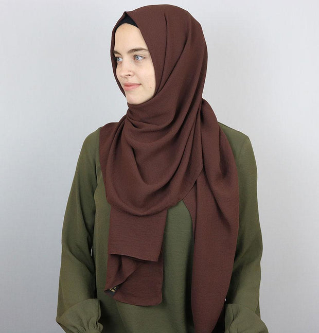 Modefa Shawl Brown Textured Crepe Hijab Shawl Brown