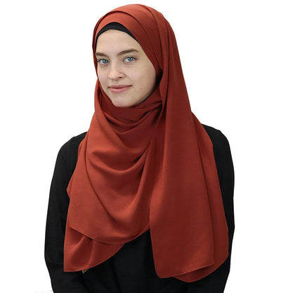 Modefa Shawl Burnt Orange Medine Solid Chiffon Hijab Shawl Burnt Orange