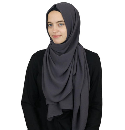 Modefa Shawl Charcoal Gray Textured Crepe Hijab Shawl Charcoal Gray