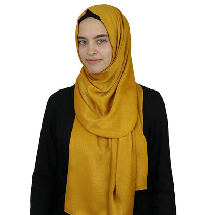 Modefa Shawl Golden Yellow Bamboo Satin Hijab Shawl Golden Yellow