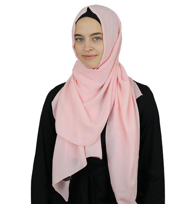 Modefa Shawl Light Pink Textured Crepe Hijab Shawl Light Pink