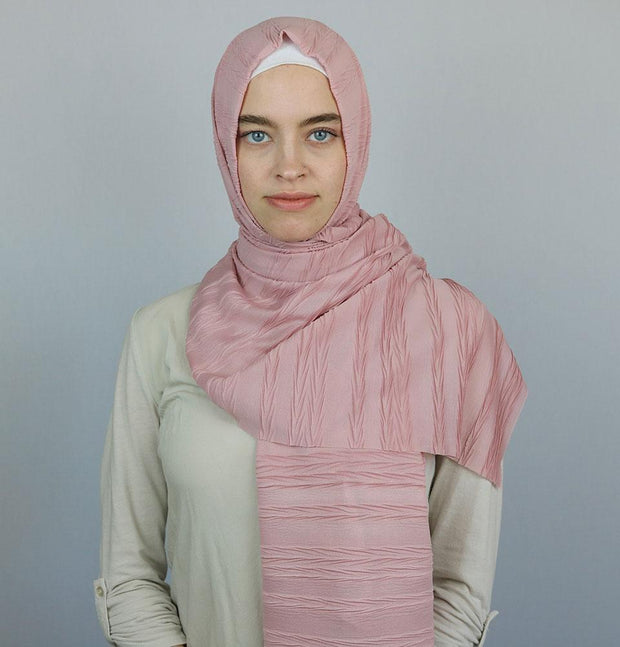 Modal Crinkle Pleated Hijab Shawl Pink