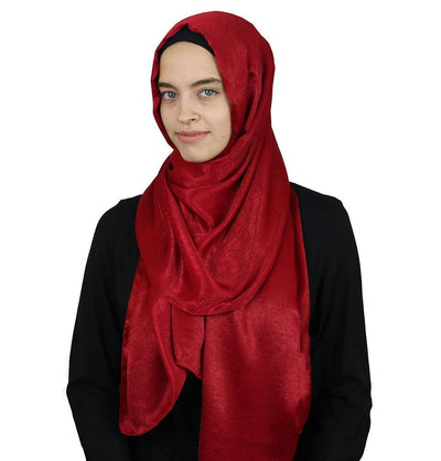 Modefa Shawl Red Bamboo Satin Hijab Shawl Red