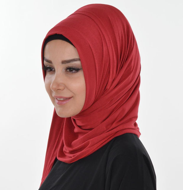 Modefa Shawl Red Practical Instant Jersey Hijab Shawl Red