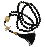 Modefa Tesbih Black Islamic Tesbih Acrylic Pearl Prayer Beads with Tughra Tassel 99 Count Black