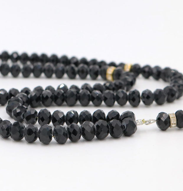 Islamic Tesbih Crystal Cut Acrylic Prayer Beads 99 Count Black