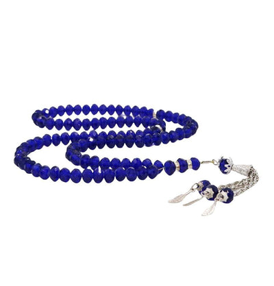 Modefa Tesbih Blue Islamic Tesbih Crystal Cut Acrylic Prayer Beads 99 Count Blue