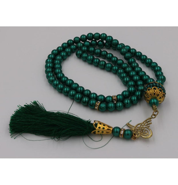 Modefa Tesbih Green Islamic Tesbih Acrylic Pearl Prayer Beads with Tughra Tassel 99 Count Green