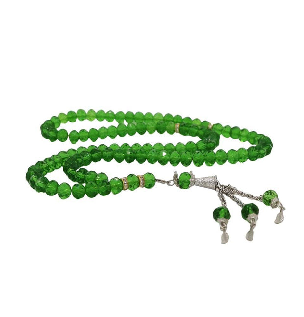 Modefa Tesbih Green Islamic Tesbih Crystal Cut Acrylic Prayer Beads 99 Count Bright Green